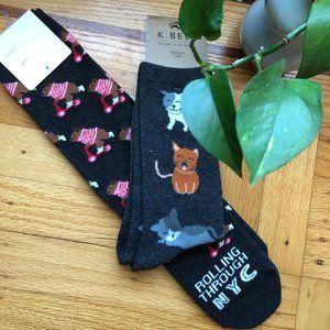 American Eagle K Bell Animal Print Brown Bear NYC Cats Gray Knee High Crew Socks